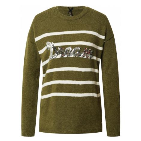 Key Largo Sweter 'Dream' khaki / biały