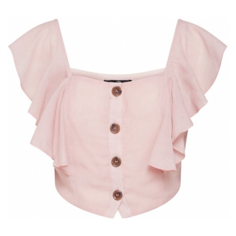 Missguided Top 'Horn Button Off Shoulder Frill Top Pink' różowy pudrowy