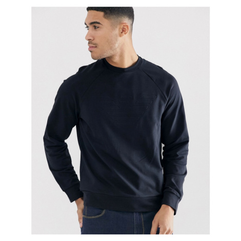 Emporio Armani embossed logo sweat in graphite navy