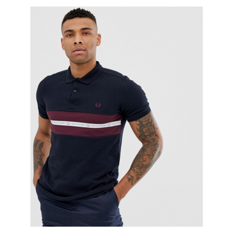 Fred Perry taped logo polo in navy