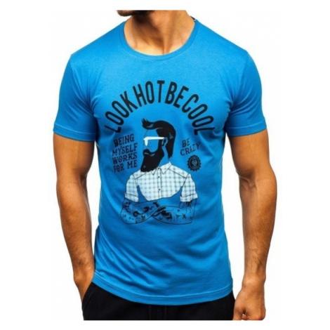 T-shirt męski z nadrukiem niebieski Bolf 1025