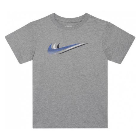 NIKE T-Shirt Sportswear Triple Swoosh Kids' Tee CU4572 Szary Standard Fit