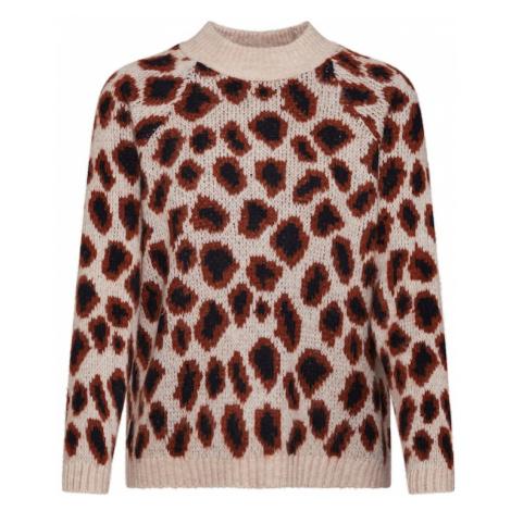 ONLY Sweter 'JADE' kremowy / brązowy / czarny