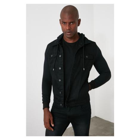 Trendyol Black Men's Button PocketHood Denim Jacket