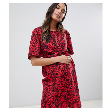 New Look Maternity animal print tie front dress in red pattern
