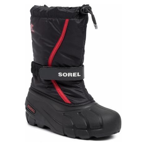 Śniegowce SOREL - Youth Flurry NY1965 Black/Bright Red