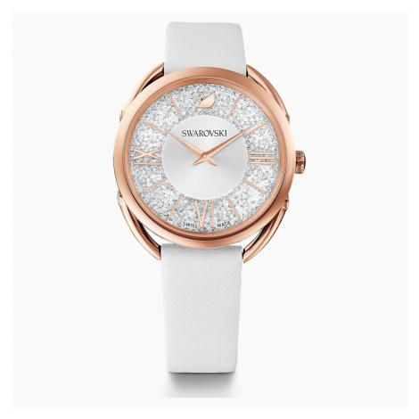 Zegarek Crystalline Glam, pasek ze skóry, biały, powłoka PVD w odcieniu różowego złota Swarovski