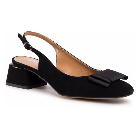 Sandały SAGAN - 3968 Czarny Welur