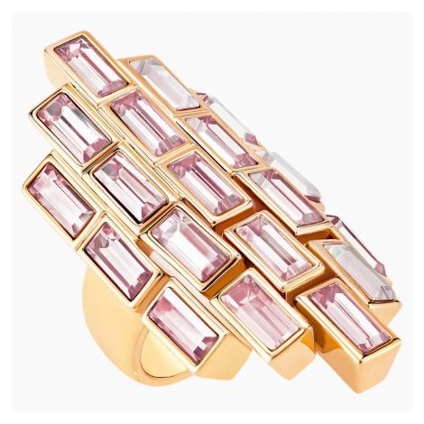 Pierścionek koktajlowy Fluid, fioletowy, w odcieniu różowego złota Swarovski