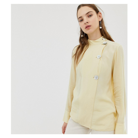 Mango asymmetric collar fasten blouse in Yellow