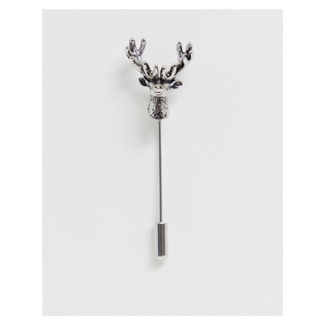 Twisted Tailor lapel pin with stags heads in gun mental