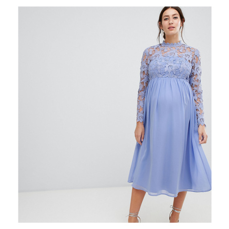 Chi Chi London Maternity High Neck Midi Skater Dress With Lace Sleeves