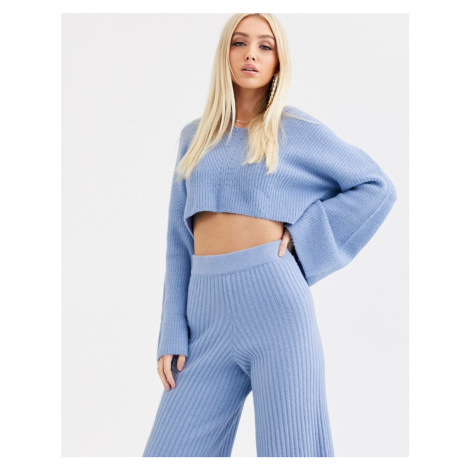 Missguided co-ord knitted crop hoodie in blue
