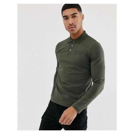 EA7 Train Core ID slim fit long sleeve logo polo shirt with stretch in khaki Armani