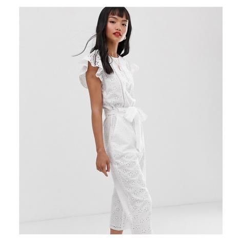 Miss Selfridge Petite broderie jumpsuit in white