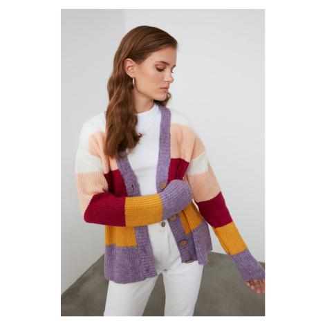 Trendyol Lila Color Block Knitwear Cardigan