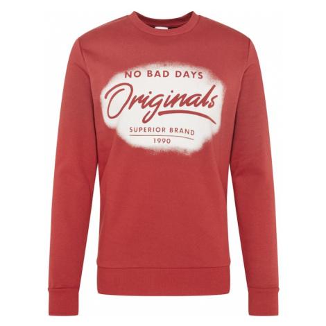 JACK & JONES Bluzka sportowa rdzawoczerwony / biały