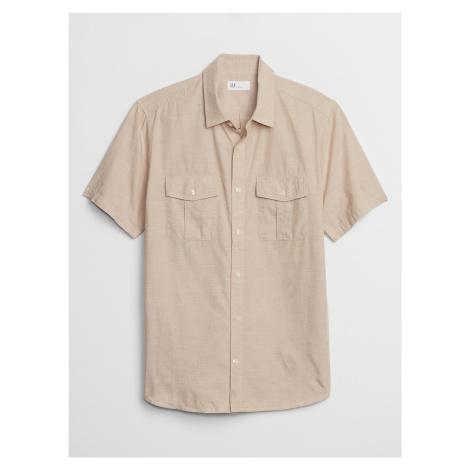 GAP beżowa koszula męska v-ss slub cotton utility pocket