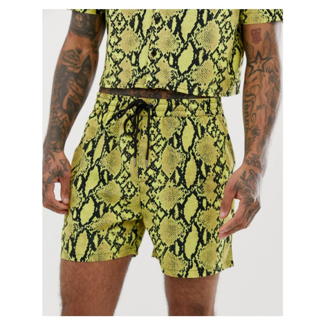 Another Influence cropped neon snake print short co-ord