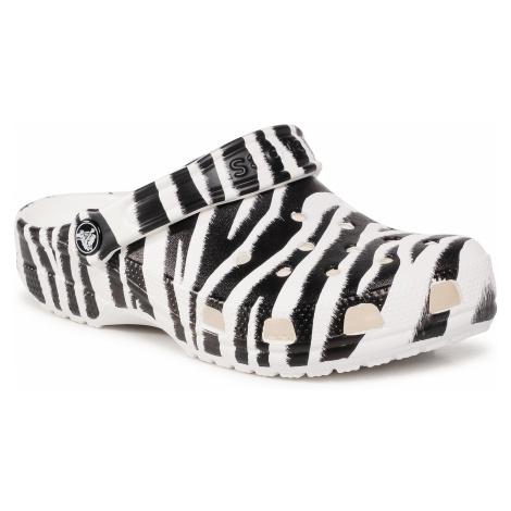 Klapki CROCS - Classic Animal Print Clog 206676 White/Zebra Print