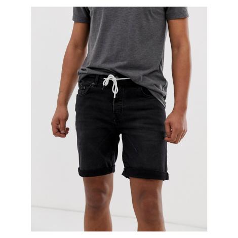 Pull&Bear skinny denim shorts in black Pull & Bear