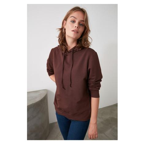 Trendyol Brown Hooded Basic Knitted Sweatshirt