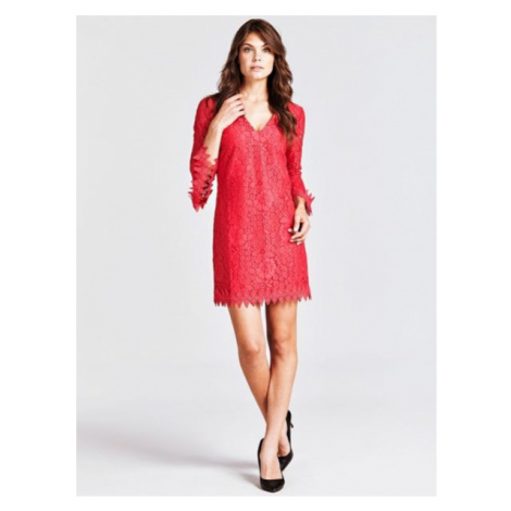 Koronkowa Sukienka Z Rozkloszowanymi Rękawami Guess