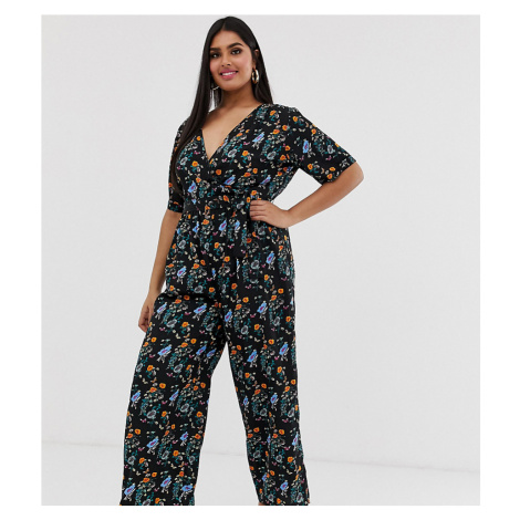 Yumi Plus wrap front jumpsuit in floral meadow print