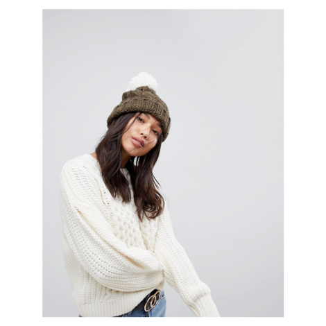 Brave Sould Cable Hat with Knitted Bobble in Khaki
