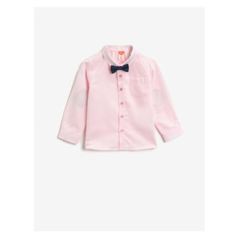 Koton Boys Pink Cotton Tie Detail Classic Kołnierz Koszula z długim rękawem