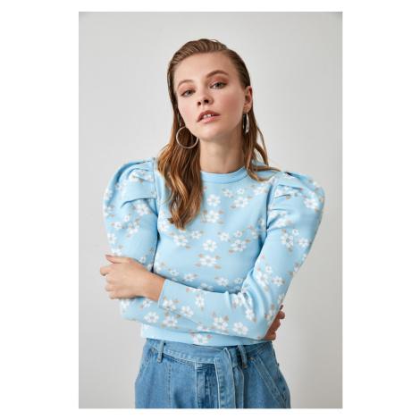 Trendyol Blue Flower Knit Sweater