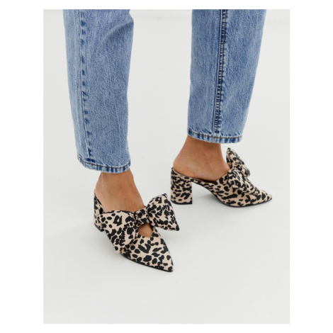 ASOS DESIGN Sweetness block heel bow mules in leopard