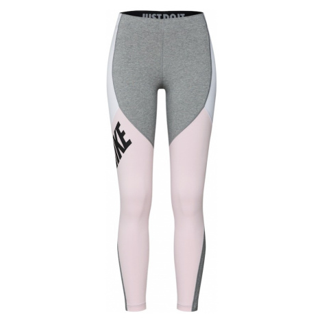 Nike Sportswear Legginsy szary / różowy pudrowy / biały