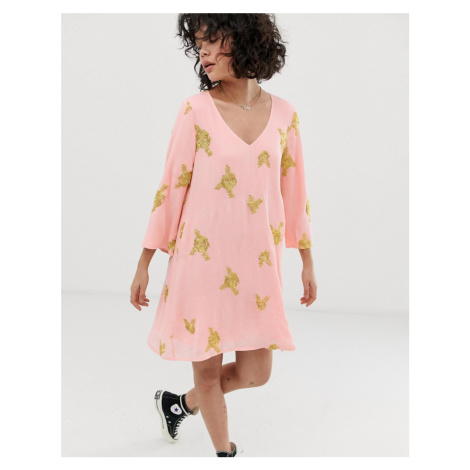 Wild Honey swing dress with all over embroidery