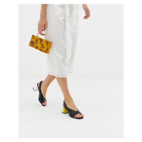 ASOS DESIGN Howdy toe loop mis-match block heeled sandals