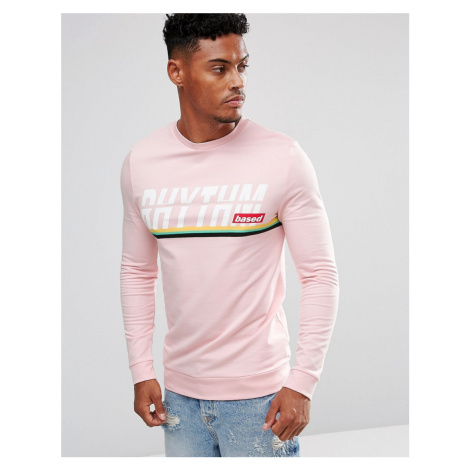 ASOS Muscle Sweatshirt With Text & Stripe Print