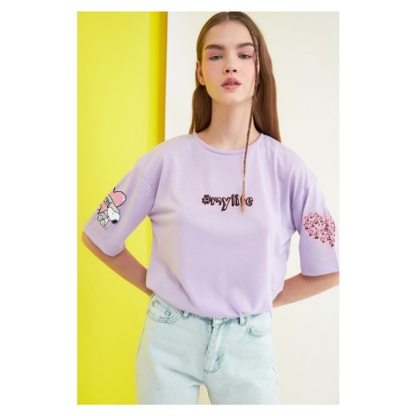 Trendyol Lila Snoopy Licensed Printed Loose Knitted T-Shirt
