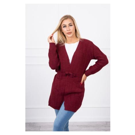 Sweter w paski burgund