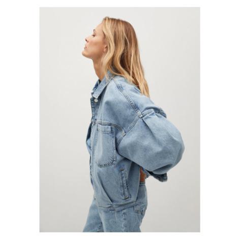 Mango Kurtka jeansowa Selina 87064761 Niebieski Oversize
