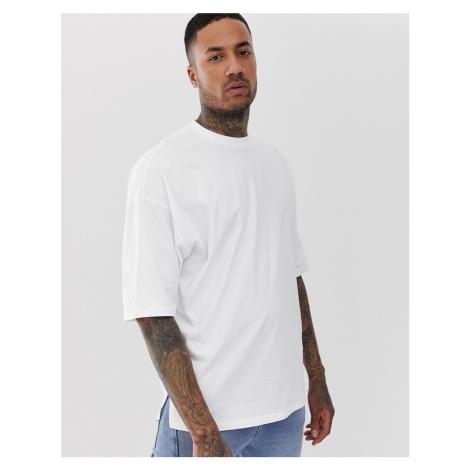 ASOS DESIGN oversized t-shirt with side split in white