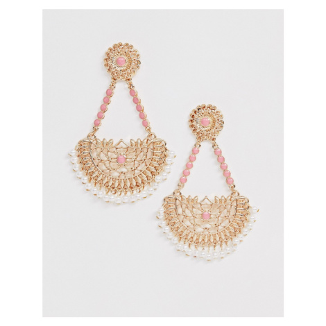ASOS DESIGN earrings with cut out filigree drop and pink stones in gold tone