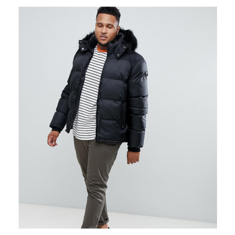 Schott puffer jacket with detachable hood & faux fur trim in black Schott NYC