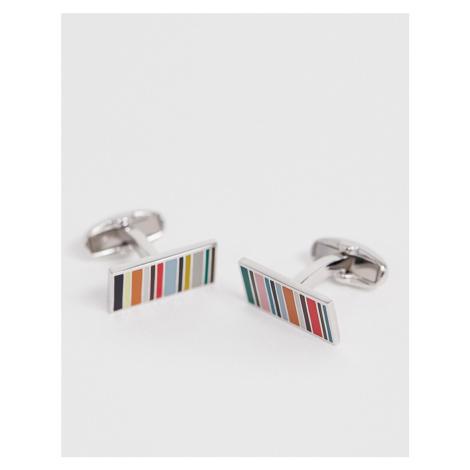 Paul Smith multi stripe cufflink in silver