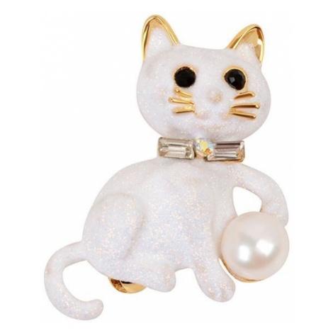 JwL Luxury Pearls Broszka Pussy z Right Pearl i JL0385 Crystals