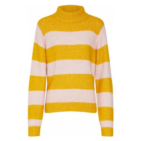 PIECES Sweter 'CEYLA' złoty żółty / różowy pudrowy