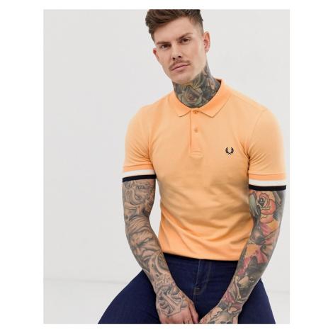 Fred Perry bold cuff polo in orange