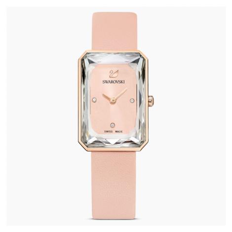 Zegarek Uptown, pasek ze skóry, różowy, powłoka PVD w odcieniu różowego złota Swarovski