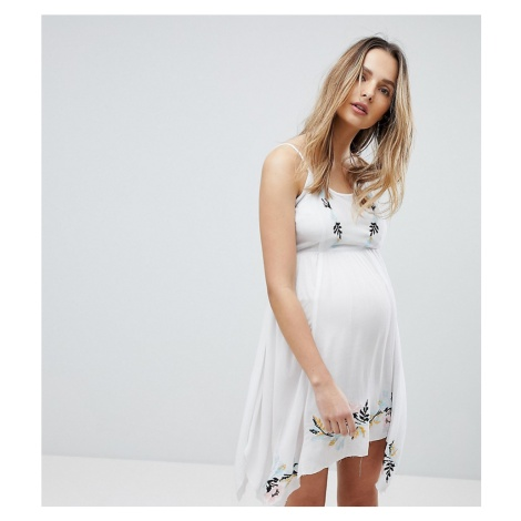 ASOS DESIGN Maternity Floral Cross Stitch Embroidered Strappy Beach Sundress