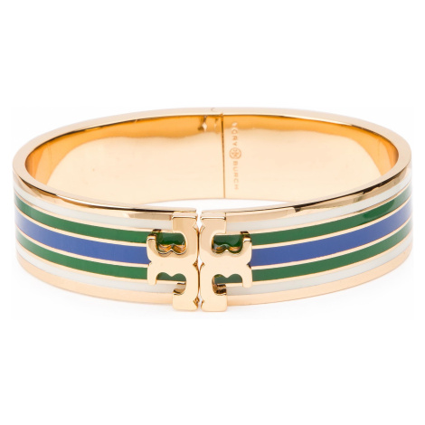 Bransoletka TORY BURCH - Printed Raised-Logo Hinged Bracelet 46809 Tory Gold/Green/Blue/Ivory 34