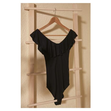 Trendyol Black Fitilli Stud Knitted Body